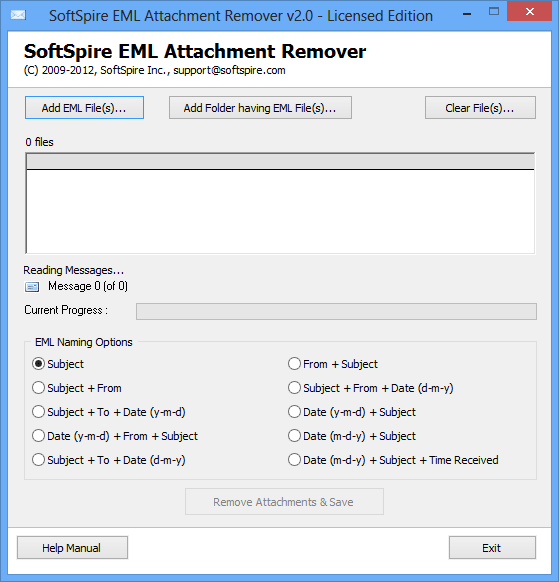 Remove attachments from EML file