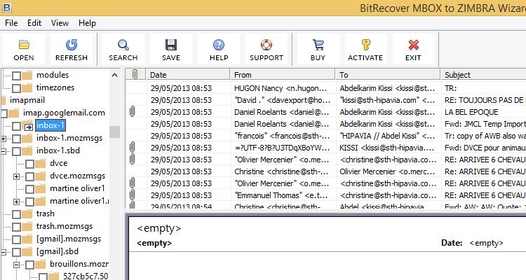 Click to view MBOX Mailbox to Zimbra Migration 5.0 screenshot