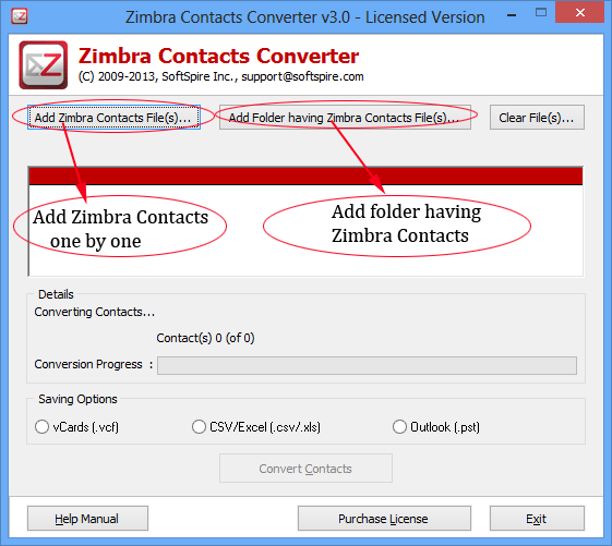 Software4Help Zimbra Contacts Converter full screenshot