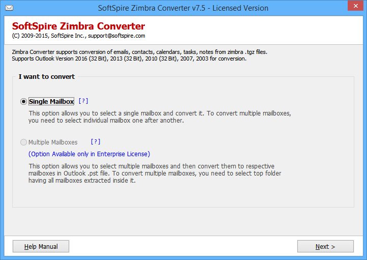 Zimbra Data into PST File full screenshot