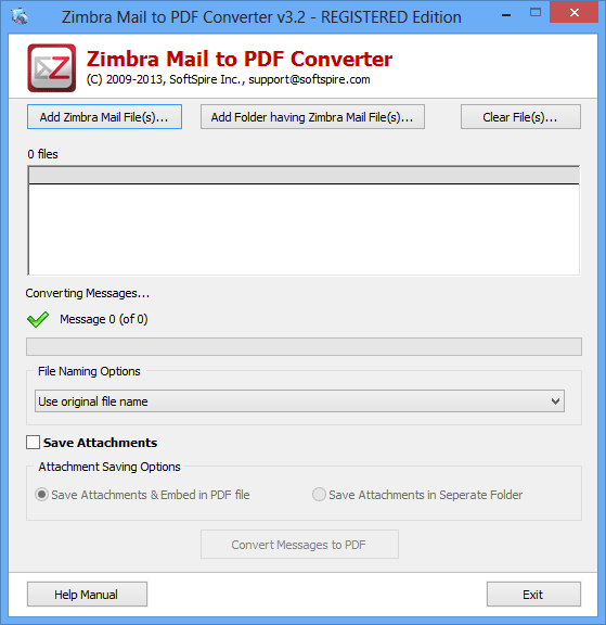 Converting Zimbra Email to PDF 3.5
