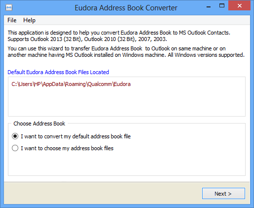 Eudora Address Book to Outlook Importer 1.3.6