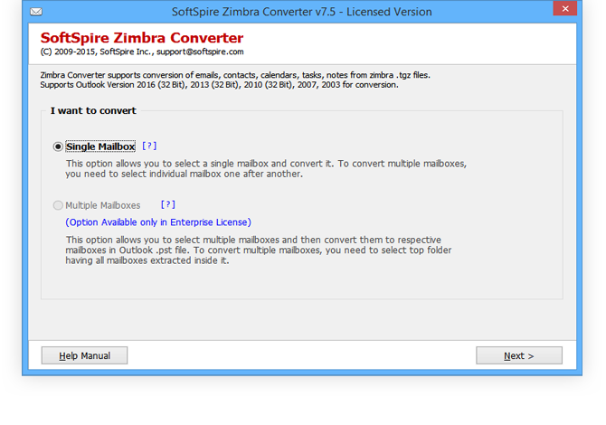 Zimbra User Accounts to Outlook 8.3.7